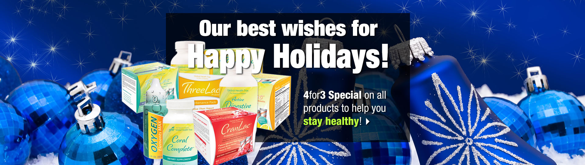 Happy Holidays offer with product montage
