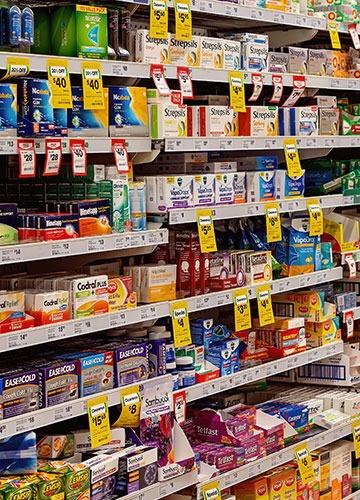 medical supplies on supermarket shelves