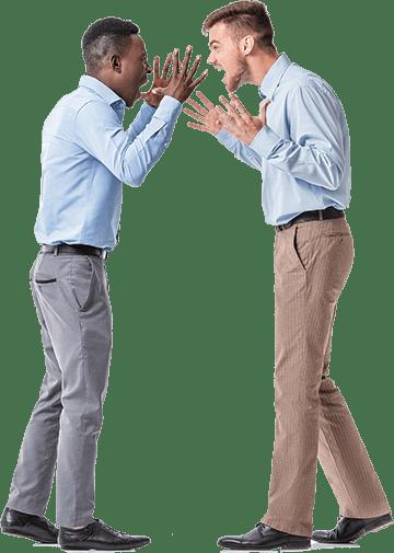 Two men arguing after poor sleep