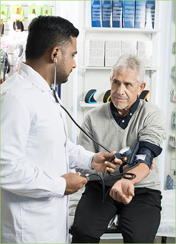 Man getting blood pressure taken