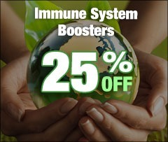 Hand holding globe, text says 25% off Immune System Boosters